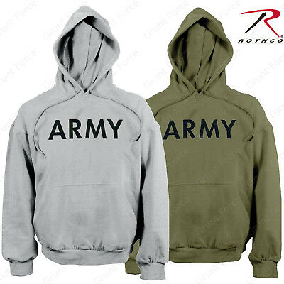 Men's Army Pullover Hoodie Sweatshirt - Rothco OD or Grey PT Hooded Sweatshirts