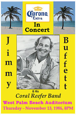 ROCK: Jimmy Buffett  & Coral Reefer Band at West Palm Beach Concert Poster 1986