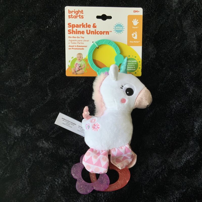 Bright Starts Sparkle And Shine Unicorn Baby Teething Toy Pink Rattle Seat Toy