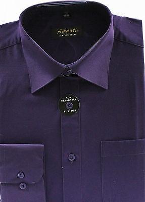 Mens Dress Shirt Plain Eggplant  Modern Fit Wrinkle-Free Cotton Blend - Cotton Mens Dress Shirt