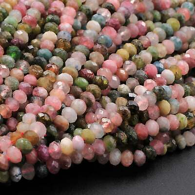 Faceted Natural Tourmaline Rondelle Beads 4mm Pink Green Watermelon 16