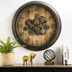 Glitzhome Vintage Industral Oversized Wooden/Metal Wall Clock with Moving Gears