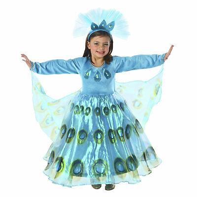 Child Girls Patty Peacock Bird Peafowl Princess Halloween Costume Dress Cape XS - Peacock Girl Child Costume
