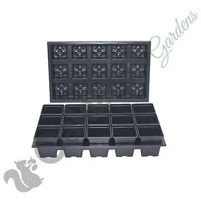 750 x 7cm Square Plant Pots + 50 x Carry Trays Combo Deal Black Plastic Pot