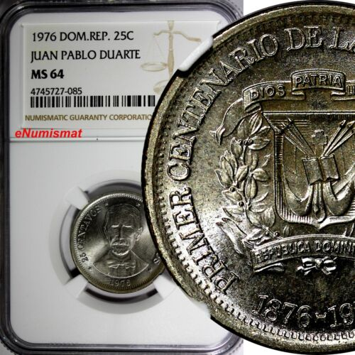 DOMINICAN REPUBLIC 1976 25 Centavos NGC MS64 Death of Juan Pablo Duarte KM# 43
