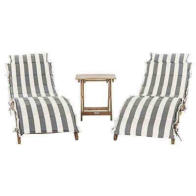 Gray Stripe Cushion 2 Seat Acacia Wood Patio Chaise Lounge Set Outdoor Furniture ()