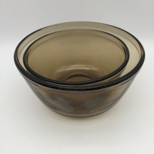 Anchor Hocking 2 Piece Amber Brown Mixing Nesting Bowls 1 Qt 1 1/2 Qt.SET