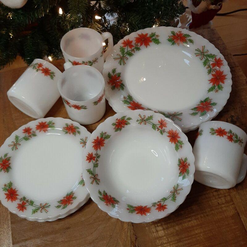 "Vintage Christmas dish set Milk glass ""pyrex"" Indopal Poinsettia set for four,"