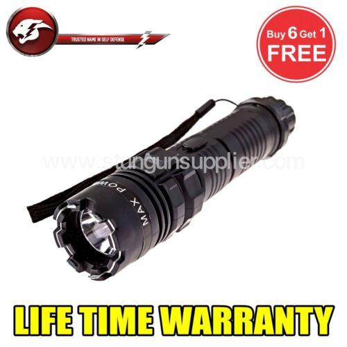 Cheetah Stun Gun Tactical High Powered Flash Light Rechargeable Defense 77 BK