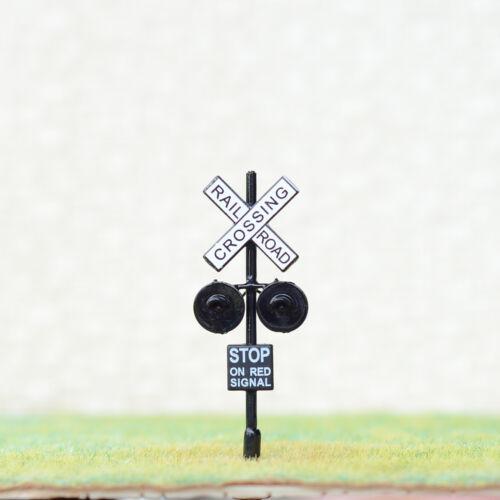 4 x HO railway grade crossing signals 2 targets one side lights black #HO2BL