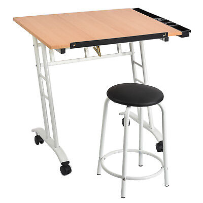 Rolling Drafting Table Adjustable Drawing Desk Board Art Craft with Stool