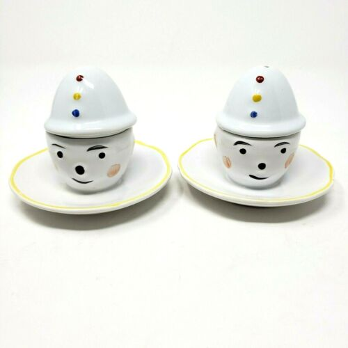 VTG 1960s Clown Face Egg Cups set of two Hat Salt Shakers Hand Painted Portugal