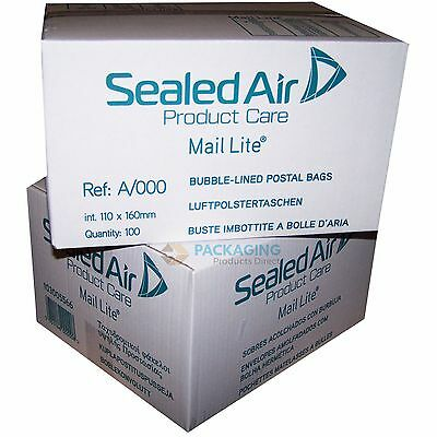 100 Mail Lite White Mailing Padded Postal Bags A/000 110MM X 160MM Envelopes
