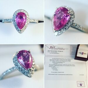 New- 18k White Gold 1.34 ct Pink Sapphire & Diamond Ring $4340