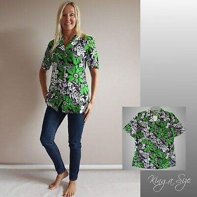 Grün Floral Bluse (Sommer Bluse Tunika Hemdbluse Floral Print Kurzarm Gr.40 weiß grün schwarz *)