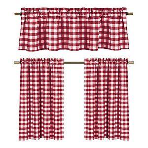 Red Plaid Curtains Ebay