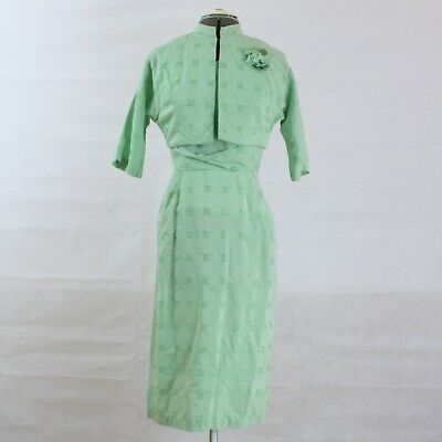 VTG 50s Green Wiggle Dress and Bolero Jacket Dress Suit Set S M Mad Men Cotton](Mens Bolero Jacket)
