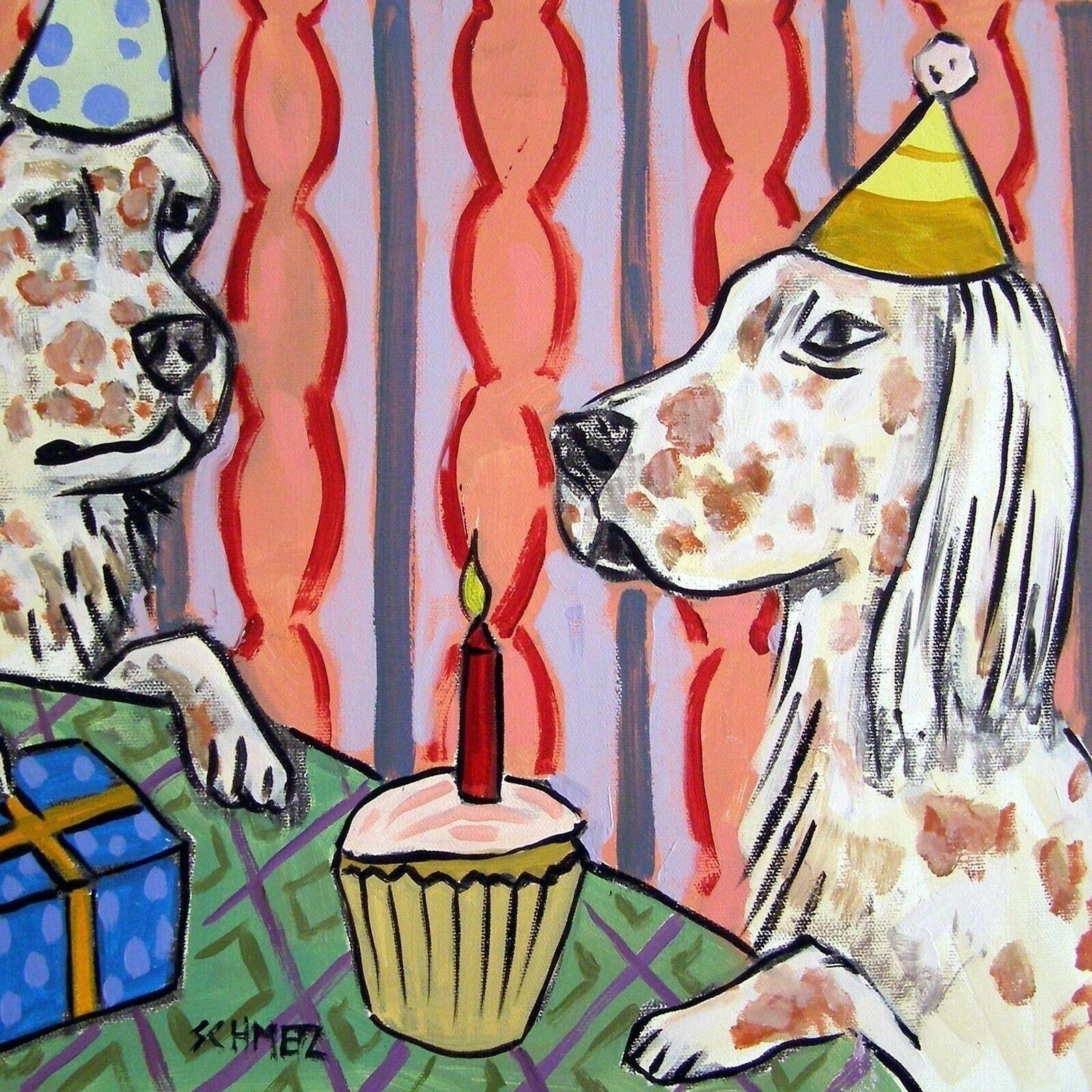 Details About English Setter Birthday Party Animal Gift Dog Art Tile Coasters Gifts Tiles