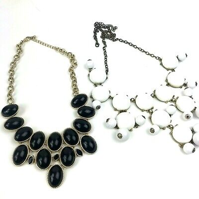 Pair White & Black Bubble Statement Bib Necklaces Gold Tone Cabachon for sale  Shipping to Canada
