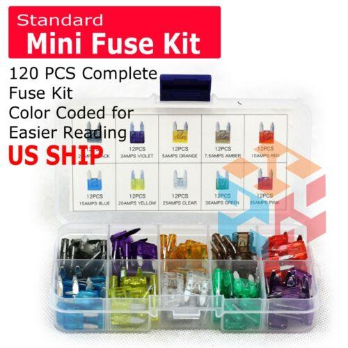 120pcs MINI Blade Fuse Assortment Auto Car Motorcycle SUV FUSES Kit APM ATM UTV