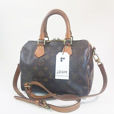 Authentic Louis Vuitton Speedy Bandouliere 25 Monogram M40390 Without Keys LD024