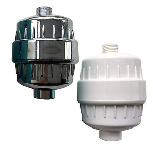 in line shower filter in chrome or white for chlorine and heavy metal removal ebay. Black Bedroom Furniture Sets. Home Design Ideas