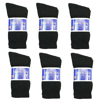 New Diabetic Crew Socks Circulatory Health Cotton Loose Fit Top 6 Pairs  Cotton Diabetic Crew Socks