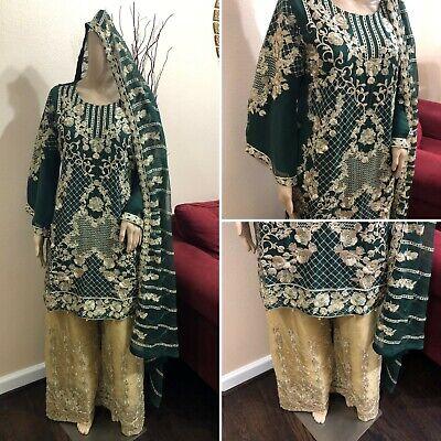 Pakistani Dark Green Straight Shirt Chiffon Suit , Fancy Threadwork and Sequins ()