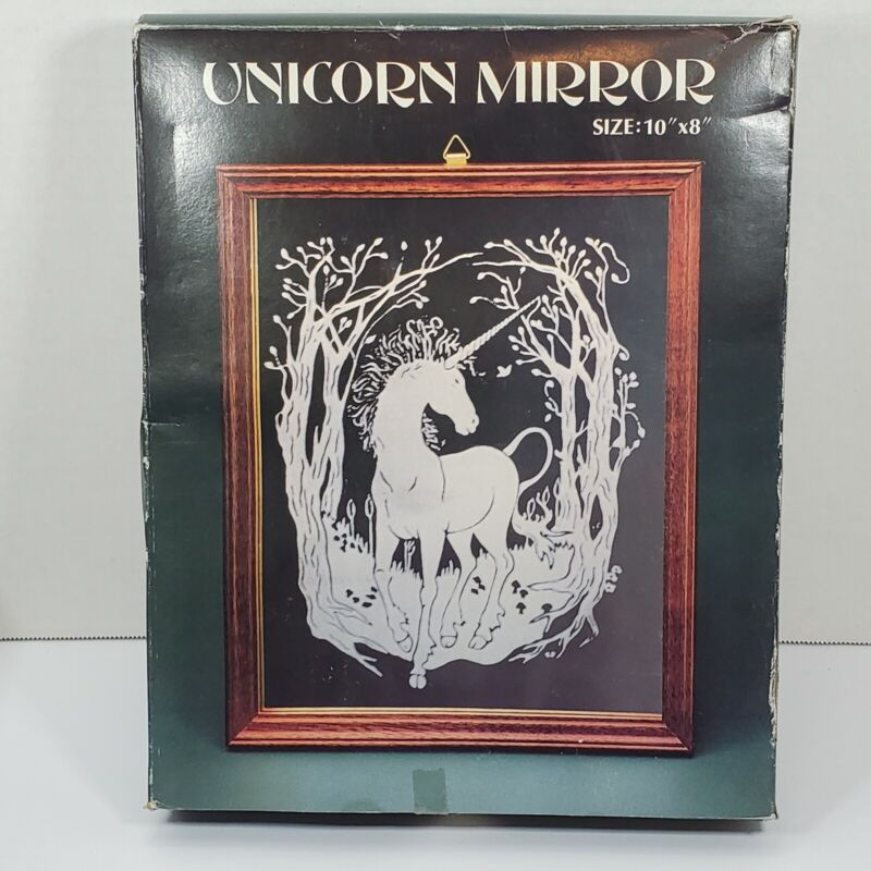 """Unicorn Mirror Vintage Wood Framed Fantasy 10"""" x 8"""""""
