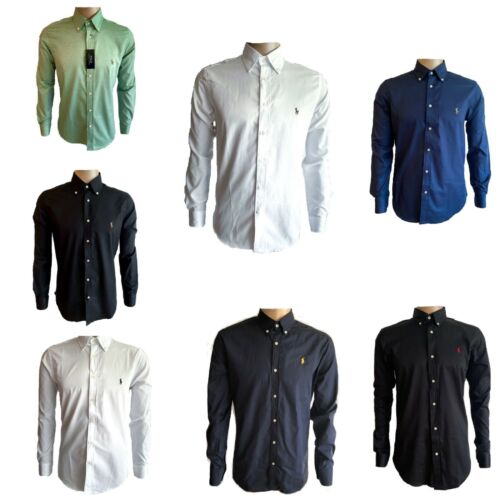 Ralph Lauren Polo Hemd Slim Fit Langarm Shirt Herren Weiß Navy Schwarz  S-XXL