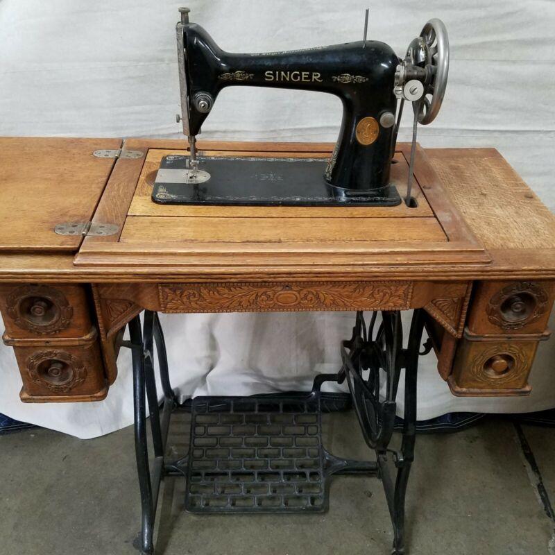 Antique Singer Model 15 Treadle Sewing Machine w/ Oak Cabinet - WORKS!