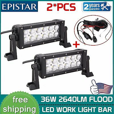 2X 36W 8inch Flood Work LED Light Bar Driving UTE Offroad SUV JEEP W/ Wiring kit