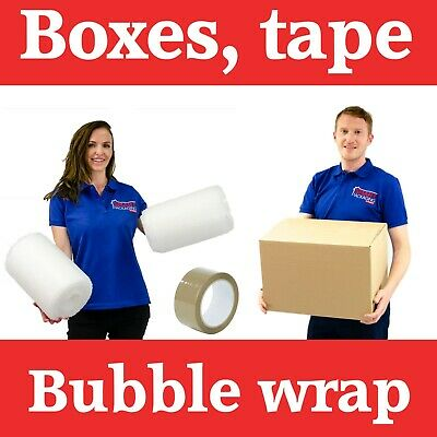 10 Large Cardboard Packing Moving Boxes, 1 Strong Tape & 10 Meter Bubble Wrap
