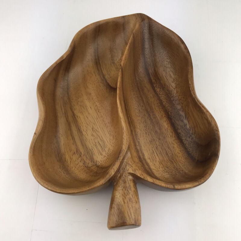 Vintage Hawaiian Monkey Pod Wood Apple Serving Bowl Dish Split Hawaii