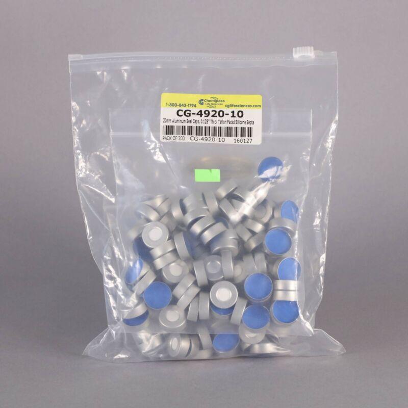 Chemglass 20mm Aluminum Seal Caps #CG-4920-10