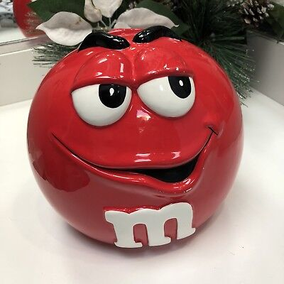 M&Ms Collectible Red Ceramic Cookie Jar 2001