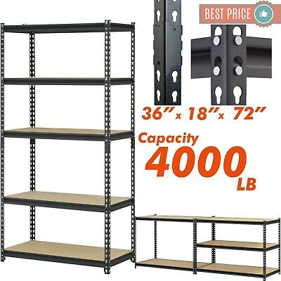 Heavy Duty Metal Muscle Rack Shelving Storage 36w X 18d X 72h Steel 5 Shelves
