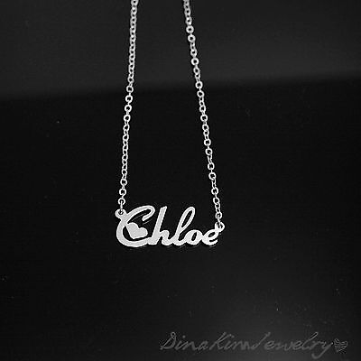Any Personalized Jewelry White Gold Plated Brass Name Necklace birthday gifts