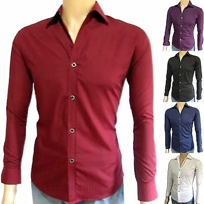 Men's Slim Fit Shirt - Long Sleeve Fitted Casual Dress Button Up Collard Shirts