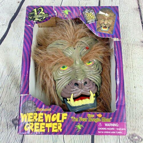 Gemmy Animated Werewolf Greeter Singing Lighted Decoration Door Wall Hanging Box