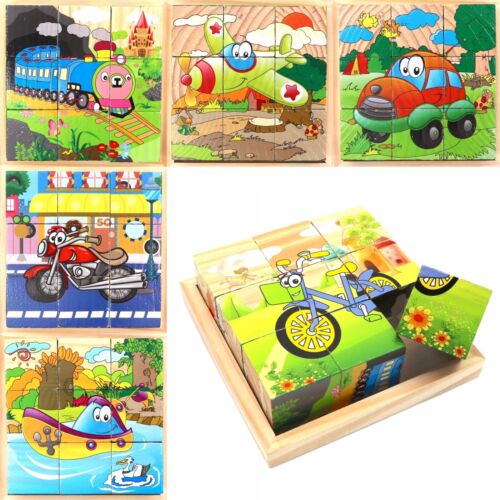 Wooden Cube Blocks For Kids Toddlers Educational Toy Puzzle - Vehicle