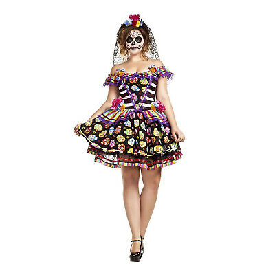 Skull Halloween Costumes For Women (Sugar Skull Senorita Adult Women's Day of the Dead Plus Size Halloween)