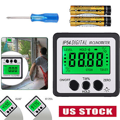 0-360 Magnet Protractor Digital Inclinometer Angle Finder Level Box Bevel Gauge