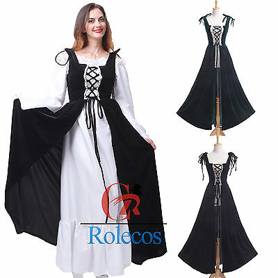 Halloween Costume Dress Renaissance Medieval Peasant Bodice Cosplay Overdress](Halloween Costume Green Dress)