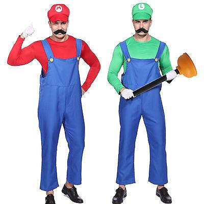 Mens Super Mario Luigi Bros Fancy Dress Workman Plumber Uniform Gloves Moustache