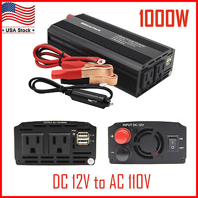 1000W 2000W Car Power Inverter Dc 12V To Ac 110V Charger Converter With Usb Port