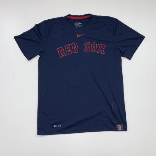 Nike Boston Red Sox T-Shirt Size Medium Dri-Fit Blue MLB Bas