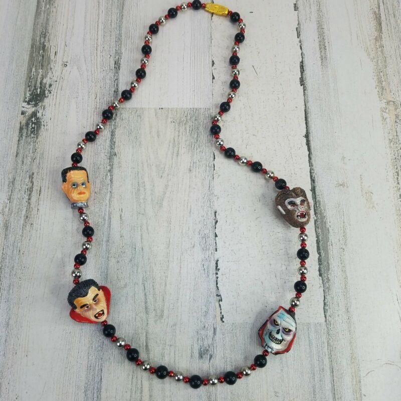 Mardi Gras Imports Halloween Necklace Skull Werewolf Frankenstein Dracula