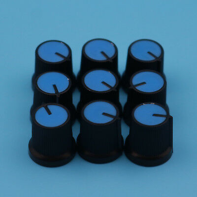 100pcs Blue Face Plastic For Rotary Taper Potentiometer Hole 6mm Black Knob