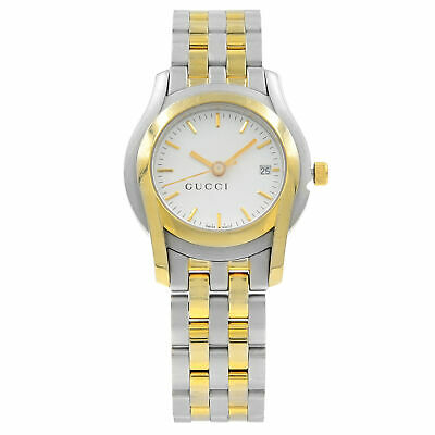 Gucci 5500L White Dial Steel Gold Tone Plated Quartz Ladies Watch YA055528